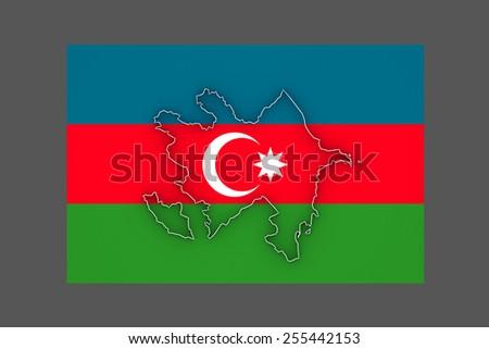 Map of Azerbaijan. 3d - stock photo