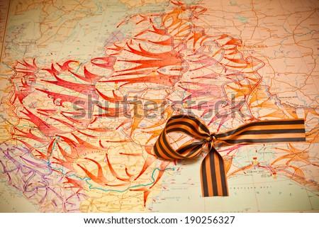 Map of battles in World War II, George Ribbon. - stock photo