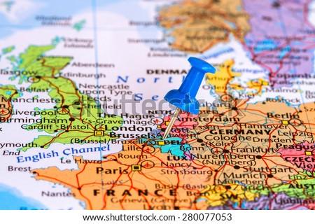 Map of belgium with a blue pushpin stuck - stock photo
