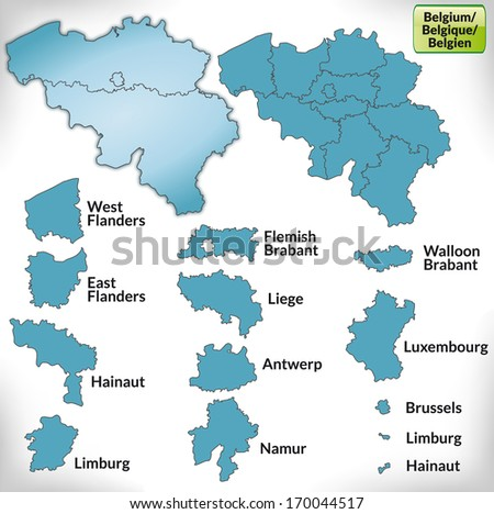 Map of belgium with borders in blue - stock photo