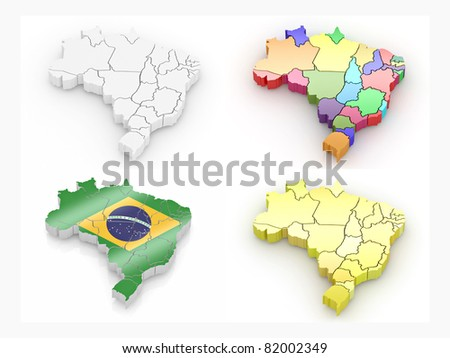Map of Brazil on white isolated background. 3d - stock photo