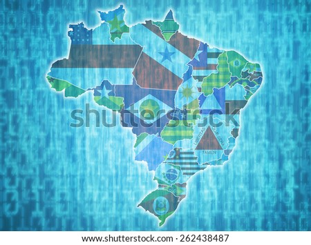 map of brazil with administrative divisions over digital background - stock photo