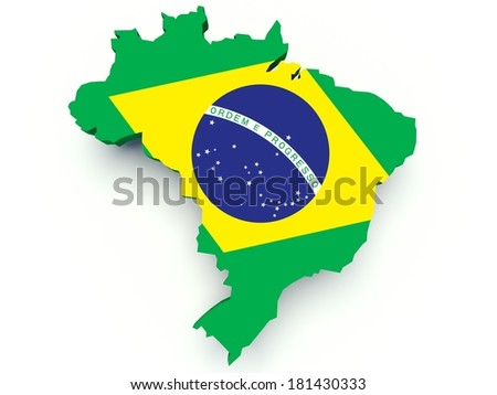 Map of Brazil with flag colors. 3d render illustration. - stock photo