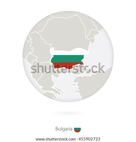 Map of Bulgaria and national flag in a circle. Raster copy. - stock photo