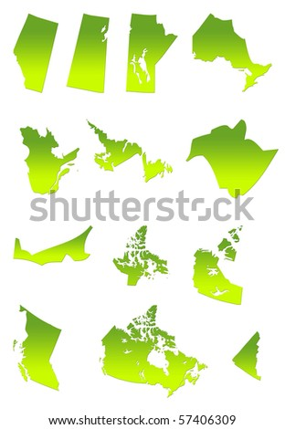 Map of Canada and provinces in gradient green, isolated on white background. - stock photo