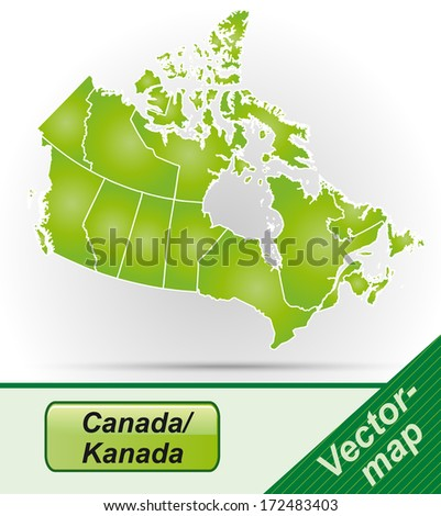 Map of Canada with borders in green - stock photo