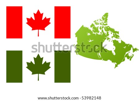 Map of Canada with green eco flag, isolated on white background. - stock photo