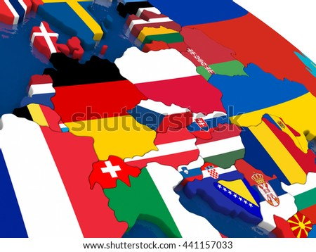 Map of Central Europe with embedded flags on 3D political map. Accurate official colors of flags. 3D illustration - stock photo