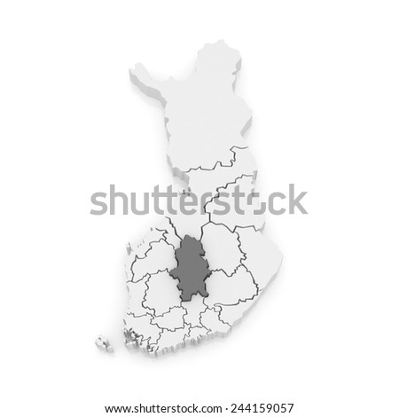 Map of Central Finland. Finland. 3d - stock photo
