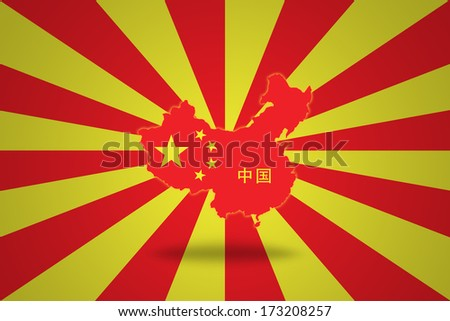 Map of China in Chinese flag isolated on red and yellow striped background. - stock photo