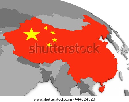 Map of China with embedded national flag. 3D illustration - stock photo