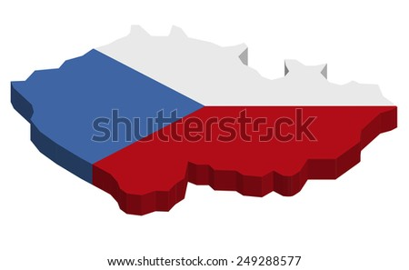 Map of Czech republic with national flag decor  - stock photo