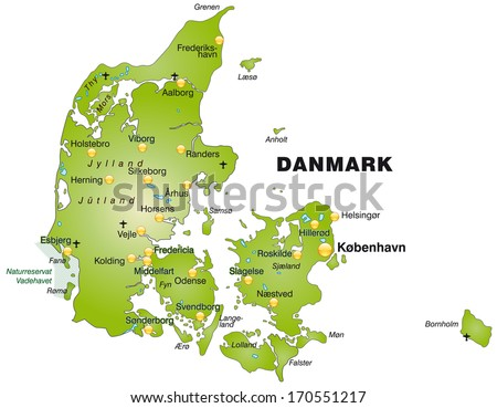 Map of Daenemark as an overview map in green - stock photo