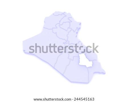 Map of Dhi Qar. Iraq. 3d - stock photo