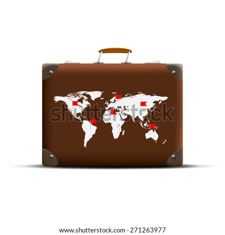 Map of Earth on a brown suitcase - stock photo