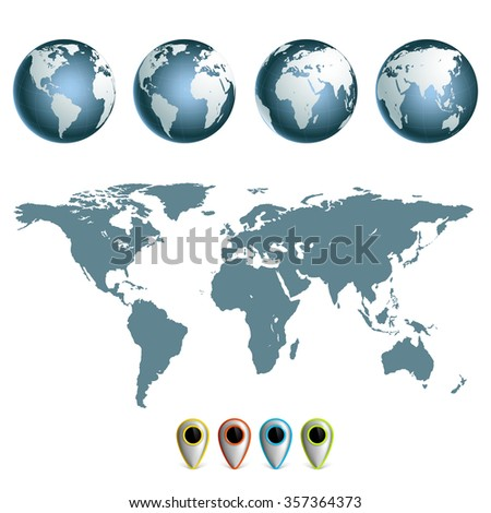 Map of earth planet with continents. Set hemispheres. Stock illustration. - stock photo
