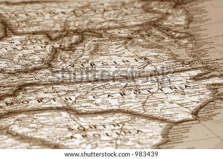 Map of east coast USA - stock photo