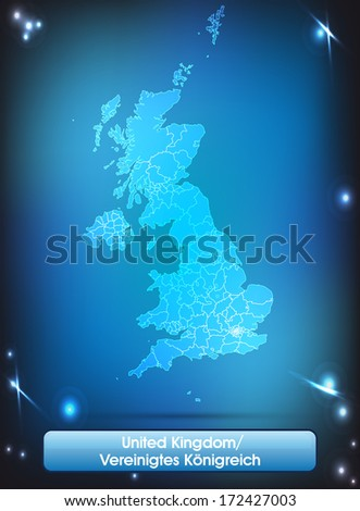 Map of England with borders with bright colors - stock photo
