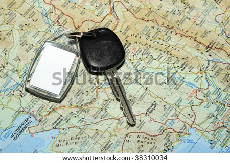 Map of Epirus Greece with car keys - stock photo