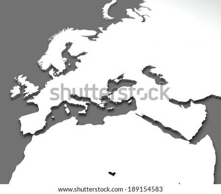 Map of europe, africa and middle east  - stock photo