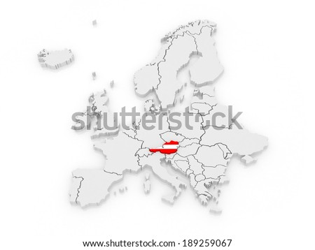 Map of Europe and Austria. 3d - stock photo