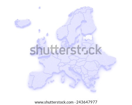 Map of Europe and Estonia. 3d - stock photo