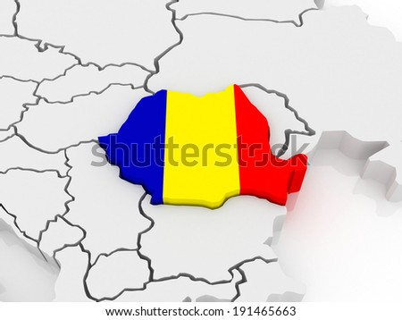 Map of Europe and Romania. 3d - stock photo