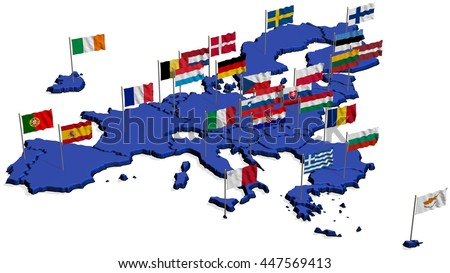 Map of Europe in Blue only EU with Flags - stock photo