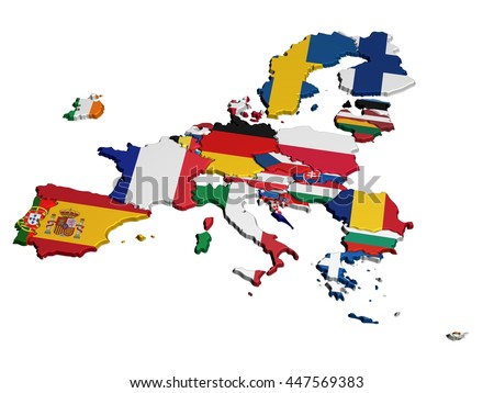 Map of Europe in National Colors only EU - stock photo