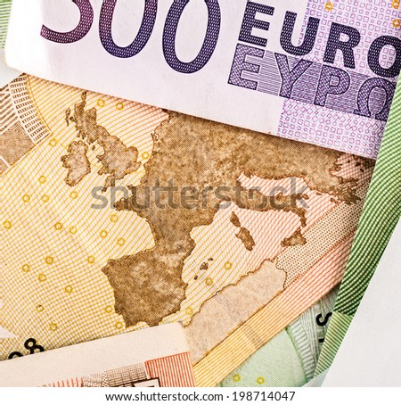 Map of Europe on 50 Euro banknote framed by other bankot - stock photo