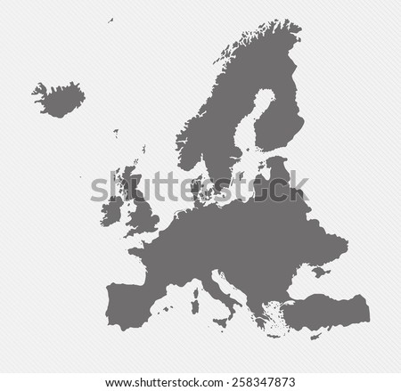 map of Europe on gray background - stock photo
