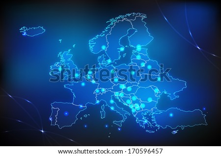 Map of Europe with main cities with bright colors - stock photo