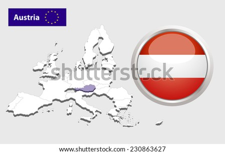 Map of European Union countries, with every state easy selectable and editable. Austria. Vector - Austria Flag Glossy Button - stock photo