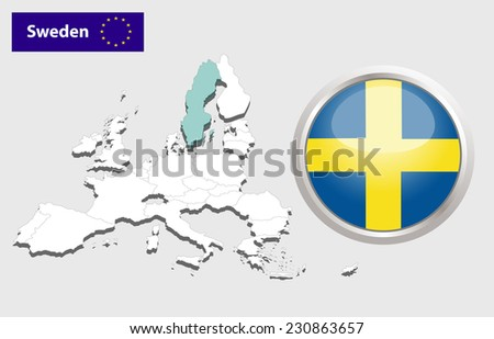 Map of European Union countries, with every state easy selectable and editable. Sweden.  - Sweden Flag Glossy Button - stock photo
