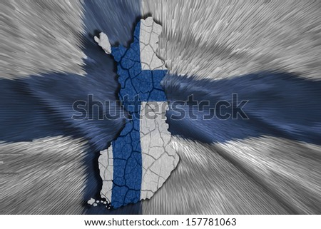 Map of Finland in National flag colors - stock photo
