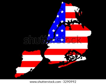 map of five boroughs of New York City and American flag illustration - stock photo