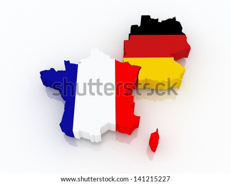 Map of France and Germany. 3d - stock photo