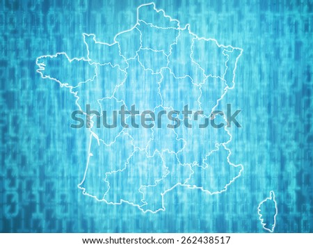 map of france with administrative divisions over digital background - stock photo