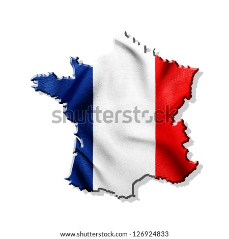 Map of France with waving flag isolated on white background - stock photo