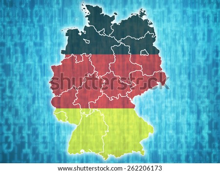 map of germany with administrative divisions over digital background - stock photo