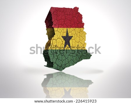 Map of Ghana with Ghanaian Flag on a white background - stock photo