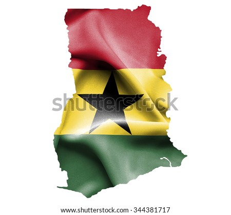 Map of Ghana with waving flag isolated on white - stock photo