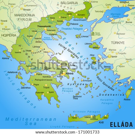 Map of Greece as an overview map in green - stock photo