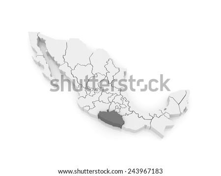 Map of Guerrero. Mexico. 3d - stock photo