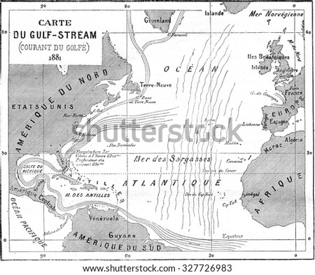 Map of Gulf Stream, vintage engraved illustration. Magasin Pittoresque (1882). - stock photo