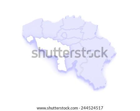 Map of Hainaut. Belgium. 3d - stock photo