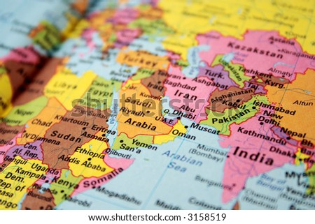 map of hot spot middle east - stock photo