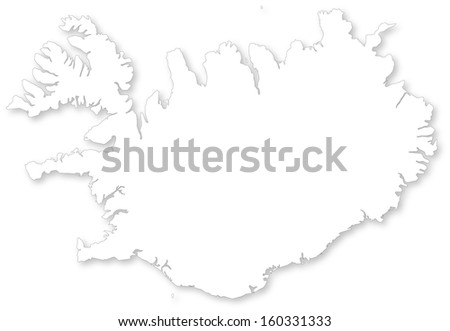 Map of Iceland with shadow. Projected in WGS 84 World Mercator (EPSG:3395) coordinate system. - stock photo