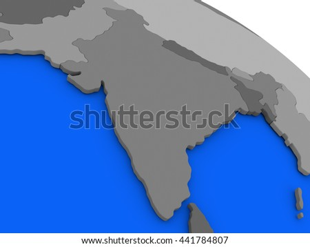 Map of India on 3D model of Earth with countries in various shades of grey and blue oceans. 3D illustration - stock photo