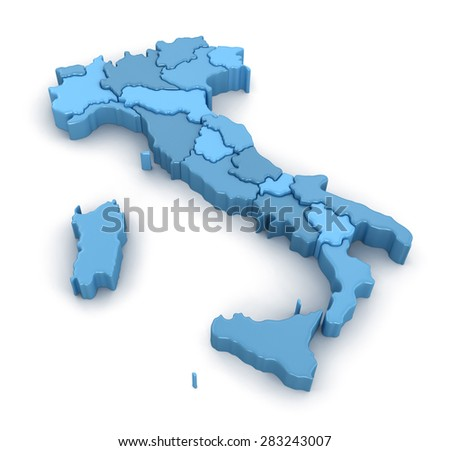 Map of Italy. Image with clipping path. - stock photo